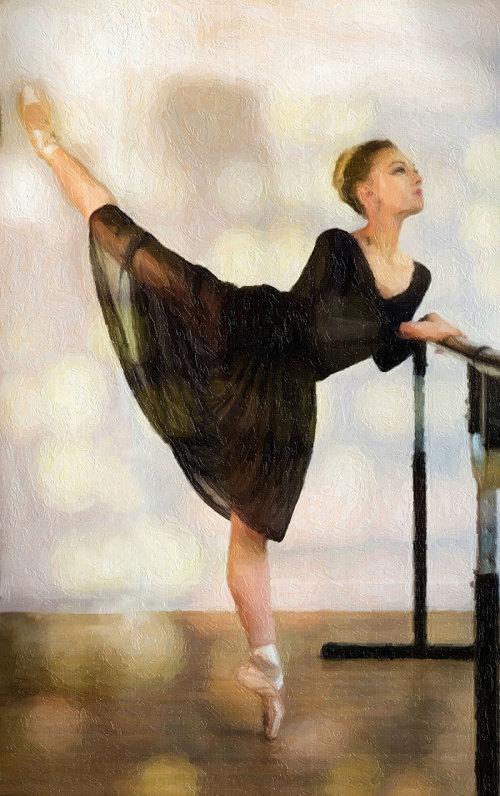 Ballerine en arabesque a la barre
