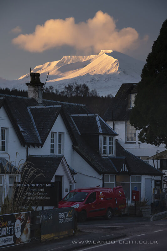 Aonach Mor at sunrise from Spean Bridge, Scotland