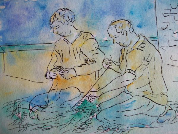Mending the nets at the harbour SOLD