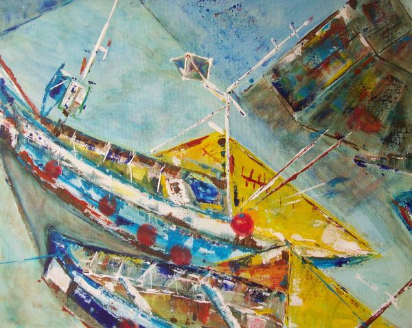 Cobles at Inner Harbour, Amble        SOLD