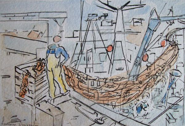 Hauling in the Nets at Amble. SOLD