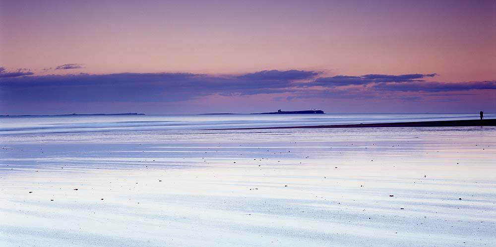 Bamburgh beach dusk