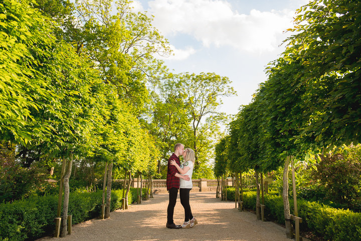 Wood Norton wedding photography. I took this photo of the bride and groom-to-be during their engagement shoot at the Wood Norton Hotel in Worcestershire