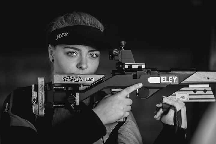 Rifle Shooting athlete Pheobe Taylor photographed by Lee Webb. Pheobo Taylor is a future star and a member of the Great British Shooting academy.