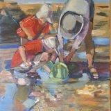 'Children fishing at rock pool' SOLD