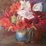 'Red and white flowers' SOLD