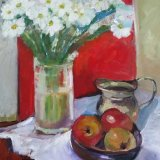 'Flowers with apples and silver jug' - SOLD