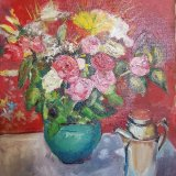 'Flowers with Silver Pot' 40cm x 50cm *