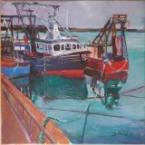 """'Fishing boats at Howth Harbour Dublin Ireland"""" 40cm X 40cm"""
