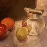 'Silver Jug with fruit