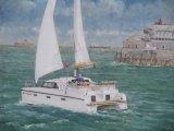 """Catamaran on the Solent  14"""" x 16"""""""
