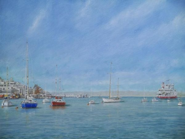 """Cowes-Isle of Wight Ferry: 16"""" x 20"""""""
