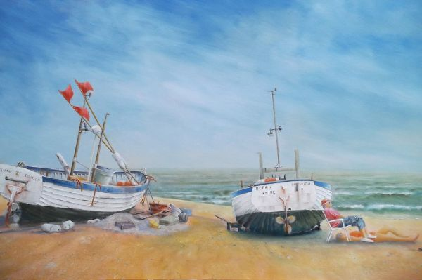 "Southwold Beach - Fishing Boats: 20"" x 36"""