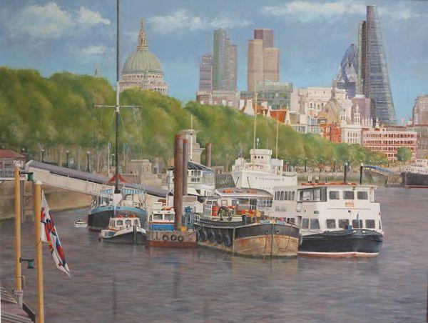 """Embankment Moorings from London Bridge  22"""" x 29"""""""