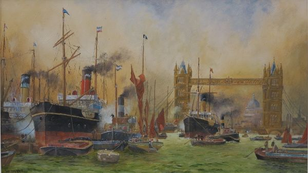"Below Tower Bridge (c.1903) 12"" x 20"" (After Charles Dixon, 1872-1934)"