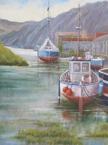 """Fishing Boats - Erguy Harbour: 16"""" x 20"""""""