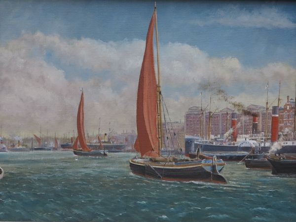 """Barges off Butlers Wharf: 12"""" x 16"""""""
