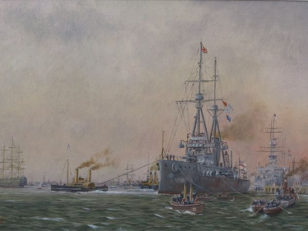 "HMS Bellerophon in Portsmouth Harbour c.1909 (After W L Wyllie 1851-1931) 12"" x 17"""