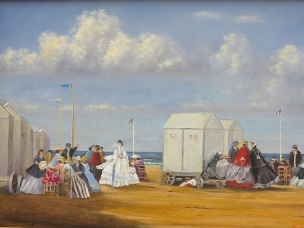 "The Beach at Trouville – 1864 (after – Eugene Boudin : 1824 – 1898) 17"" x 24"""