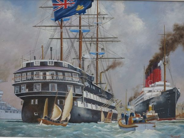 "HMS Conway & RMS Mauretania On the River Mersey – 1907 (After - Kenneth Denton Shoesmith) 17"" x 25"""
