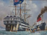"""HMS Conway & RMS Mauretania On the River Mersey – 1907 (After - Kenneth Denton Shoesmith) 17"""" x 25"""""""