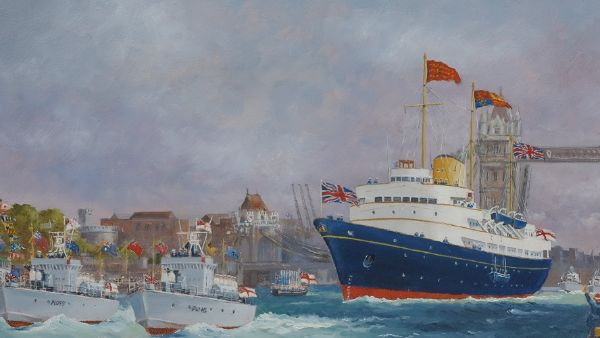 "Britannia off Tower Pier - 1954 10 x 20"""