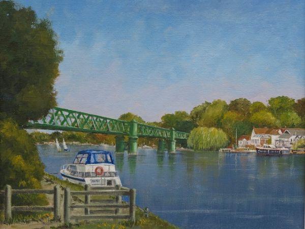 "The Railway Bridge – Bourne End Medium: Oils 10"" x 12"""