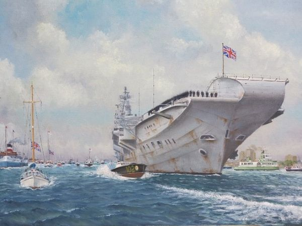 """HMS Hermes Return from the Falklands - 1982 Size: 18"""" x 22"""""""