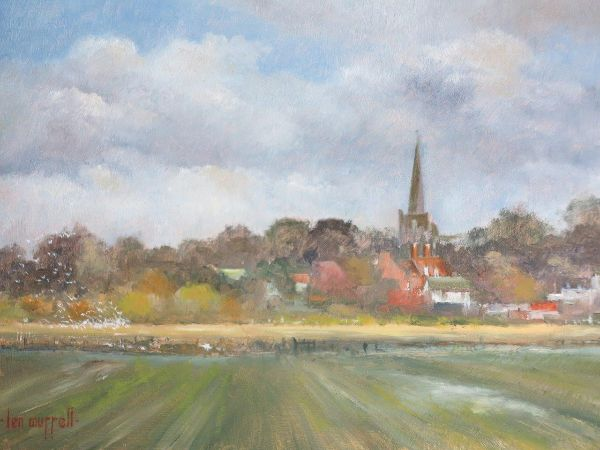 """Wingham from the Water Meadows: 8"""" x 10"""""""
