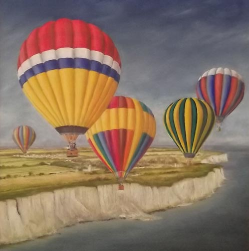 "Balloons over Cliffs at Dover: 18"" x 20"""