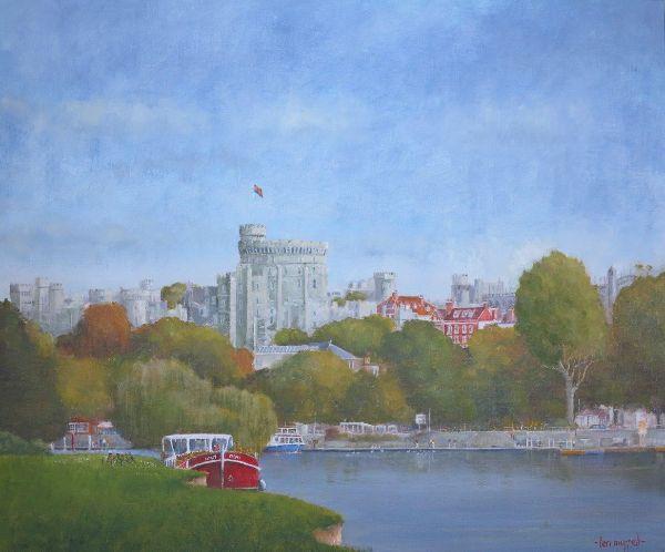 """Windsor Castle - River Thames: 20"""" x 24"""""""