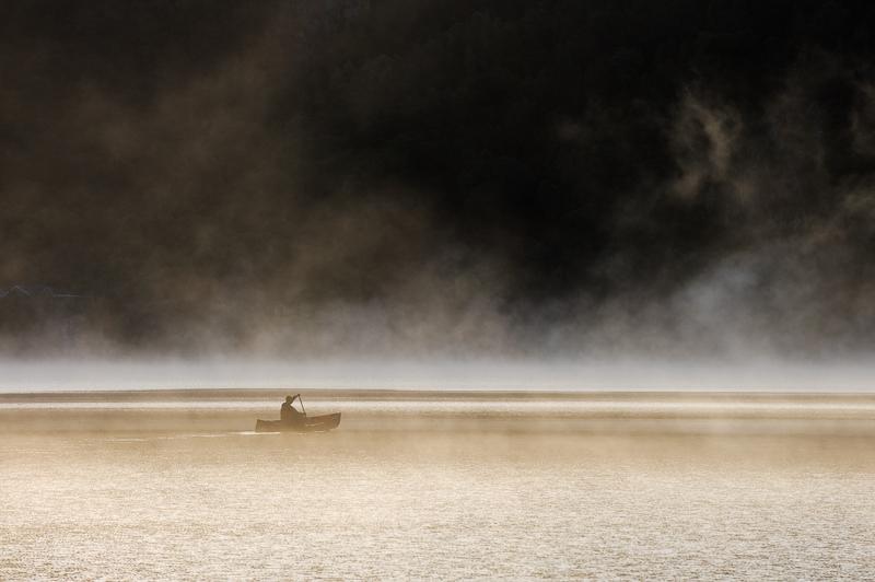 Canoe in the Mist. Derwentwater.