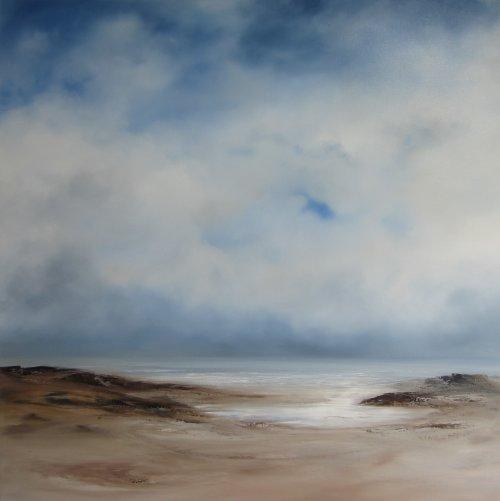 clouds building, low tide