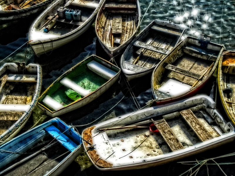 Boats At Mevagissey Colour