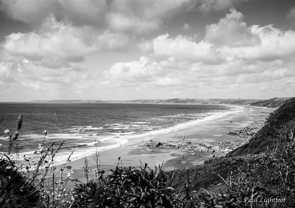 Clouds and surf, Whitsand Bay
