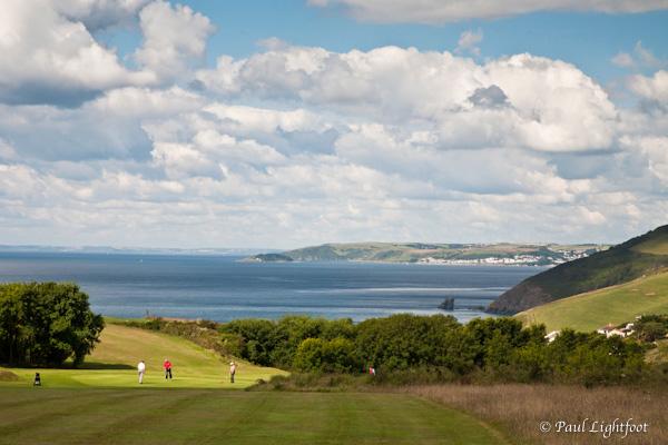 Golfers above Portwrinkle