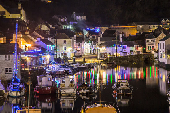 Christmas lights, Polperro, 2017