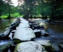 Tarr Steps, River Barle, Exmoor, Somerset, England, UK.