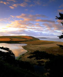 Dawn At Loe Bar With Cloud Reflection, Loe Pool, Cornwall, England, UK.