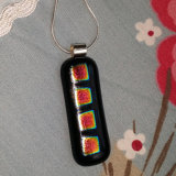 Dichroic Glass Pendant; 4 Square Column