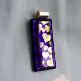 Dichroic Glass Pendant; Hearts on Violet