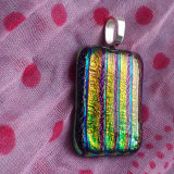 Dichroic Glass Pendant; Substantial Striations