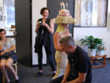 Reenactment of the Baroness Elsa Von Freytag Loringhoven's 'sugar coated birthday cake upon my head' performance