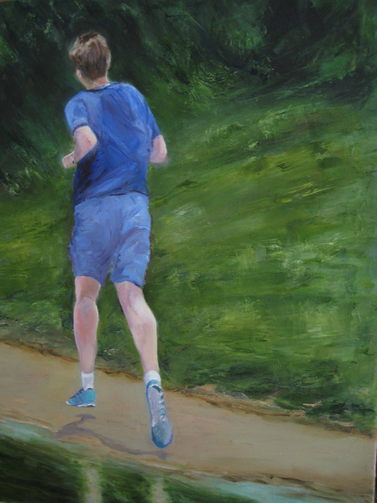 Running by the river (64cm x 79cm)