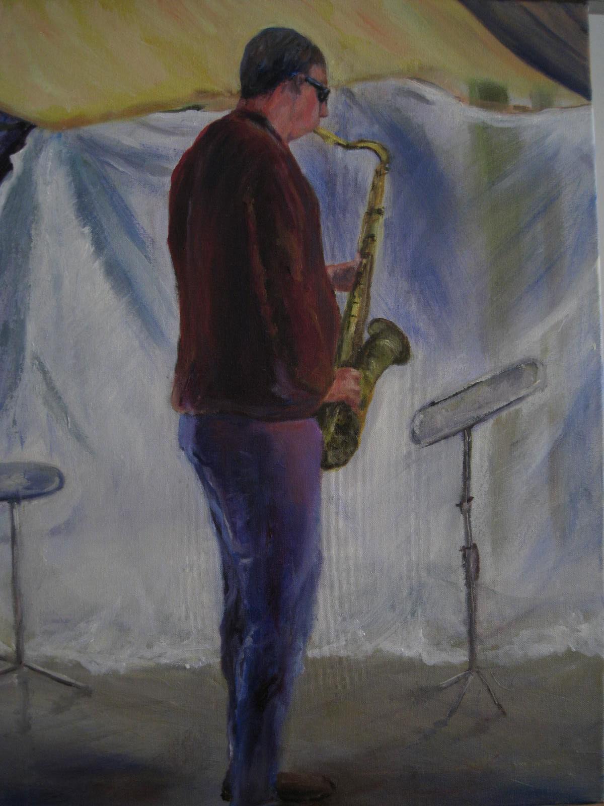 Sax player (49cm x 64cm)