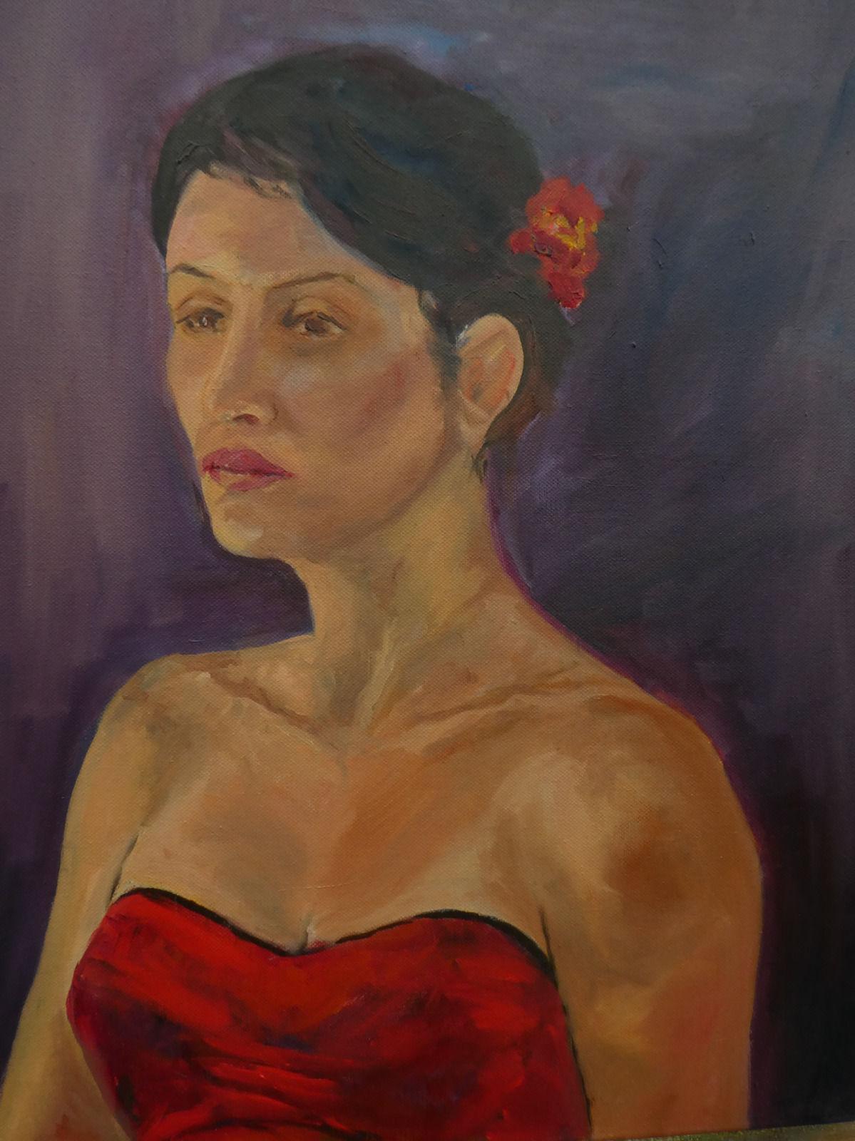 Pensive in red (44cm x 54cm)