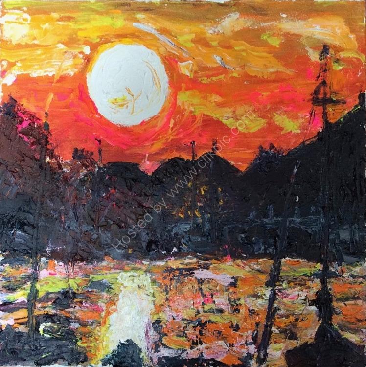 Fiery sunset over Wells quay