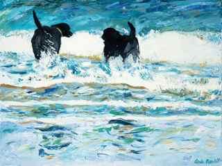 Two labradors contemplate a swim