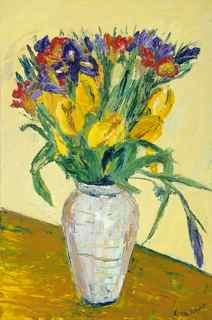 Vase of vibrant spring flowers