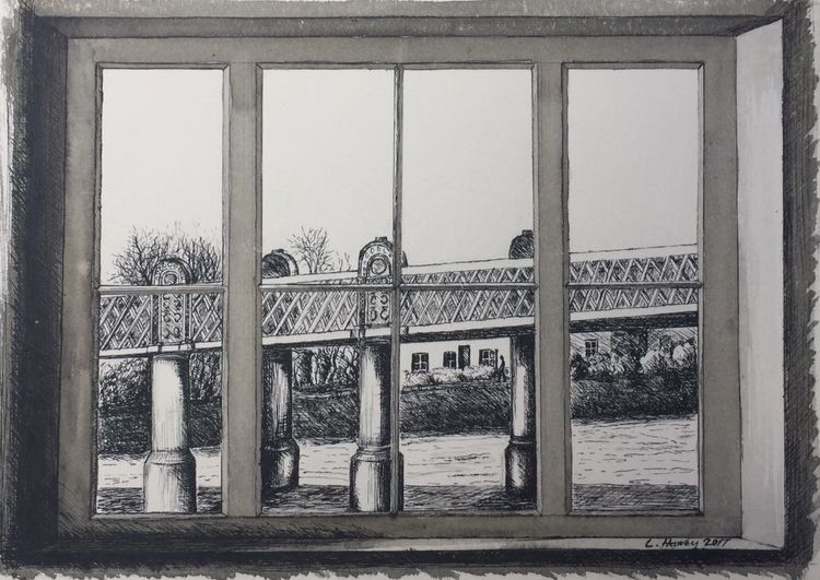 Kew Railway Bridge Window (ink)